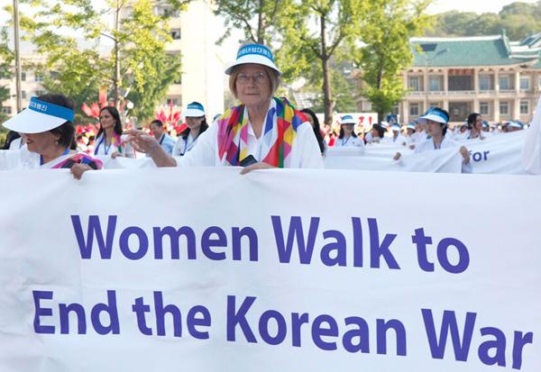 Ann Wright - With End Korean War Banner